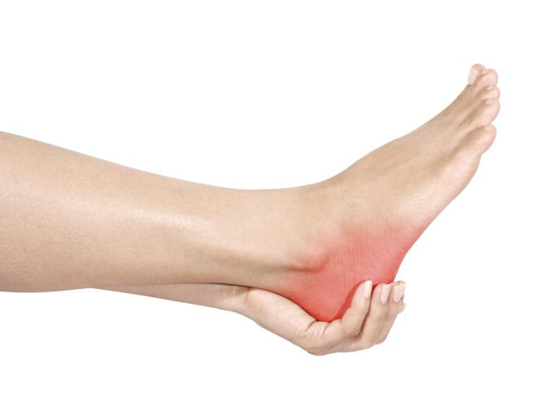 hand holding a heel that is red to show point of pain